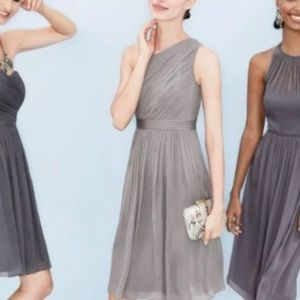 J Crew Silk Chiffon Kylie Dress 8P Graphite Gray